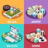 Casino 2x2 design concept. Lottery slot machines isometric vector illustration Royalty Free Stock Photo