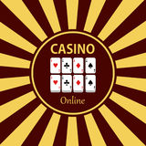 Casino  design elements  icons. Casino games.Ace playing c. Ards with chips on green background.Set of gambling chip Stock Photo
