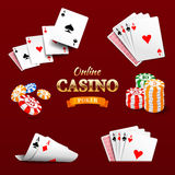 Casino design elements poker chips, playing cards and craps. Poker emblem Stock Photo