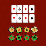 Casino  design elements vector icons. Casino games.Ace playing c Royalty Free Stock Photography
