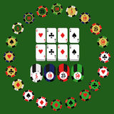 Casino  design elements vector icons. Casino games.Ace playing c. Ards with chips on green background.Set of gambling chip Stock Photo
