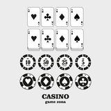 Casino  design elements vector icons. Casino games.Ace playing c Stock Photography