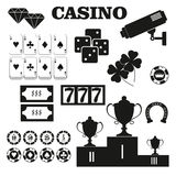 Casino  design elements vector icons. Casino games.Ace playing c Stock Photos