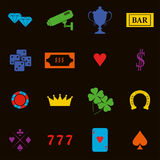 Casino design elements vector icons. Casino games.Ace playing c. Ards with chips on green background.Set of gambling chip vector illustration