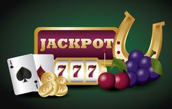 Jackpot and casino design. Casino design with jackpot and poker cards over green background, colorful design. vector illustration stock illustration