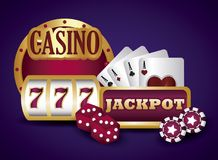 Jackpot and casino design. Casino design with jackpot and poker cards over purple background, colorful design. vector illustration stock illustration