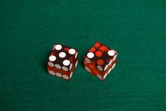 Casino Dice. Red Casino Dice showing Seven stock image
