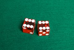 Casino Dice. Red Casino Dice showing Box Cars royalty free stock photos