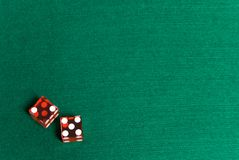 Casino Dice. Red Casino Dice showing Seven, on the side for text stock images