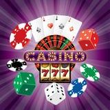Casino dice card purple Royalty Free Stock Image