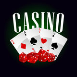 Casino dice and poker cards Stock Image