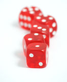 Casino dices. Five red casino dices on the white background Royalty Free Stock Images