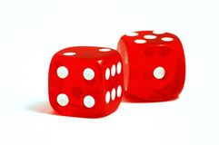 Casino dices. Two red casino dices on the white background Royalty Free Stock Photos