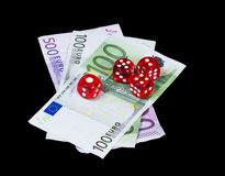 Casino dices gambling winning hand Royalty Free Stock Photos