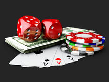 Casino Dices, Play Card, Money and Poker Chips. isolated black. 3d Illustration Stock Image