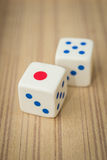 Casino dices. On wooden background Stock Images