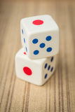 Casino dices. On wooden background Royalty Free Stock Photo