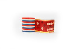 Casino Die with USA colored Chips Royalty Free Stock Photo