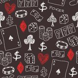 Casino. Doodle seamless background texture illustration - casino concepts with poker, dice and gambling Royalty Free Stock Image
