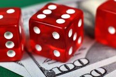 Casino drie dobbelt Royalty-vrije Stock Afbeelding