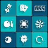 Casino e ícones lisos de jogo Foto de Stock Royalty Free