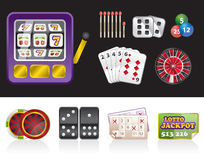 Casino e iconos de juego de las herramientas Fotografía de archivo