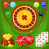 Casino elements. Vector illustration of casino elements: roulette, chips, dice and cards Stock Image