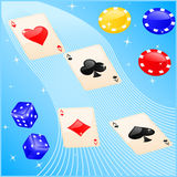 Casino elements. Vector illustration of casino elements: cards, chips and dice Stock Illustration