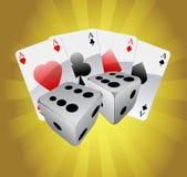 Casino elements. On colored background stock illustration