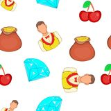 Casino elements pattern, cartoon style. Casino elements pattern. Cartoon illustration of casino elements vector pattern for web Stock Photo