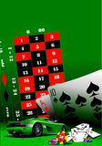 Casino elements with sport car Royalty Free Stock Photo