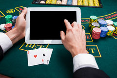 Casino, em linha jogo, tecnologia e conceito dos povos Imagem de Stock Royalty Free