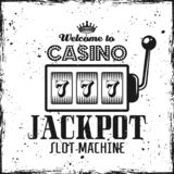 Casino emblem with slot machine and text jackpot. Casino emblem with slot machine and headline text jackpot on textured background vector illustration stock illustration