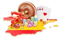 Casino en de gokkende industrie in het concept van Spanje, het 3D teruggeven vector illustratie