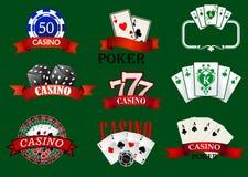 Casino en het gokken geplaatste pictogrammen royalty-vrije illustratie