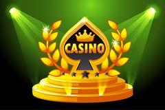 Casino en Speelkaartsymbool Banner met verlichting, pictogram op de Scène van het Stadiumpodium Vectorillustratie voor casino, gr vector illustratie