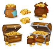 Casino en Spelpictogrammen van het beeldverhaal 3d geld Gouden muntstukken in moneybags royalty-vrije illustratie