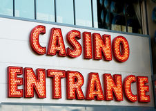 Casino entrance with big neon  letters Stock Image