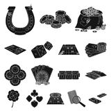 Casino and equipment black icons in set collection for design. Gambling and money vector symbol stock web illustration. Casino and equipment black icons in set Royalty Free Stock Image