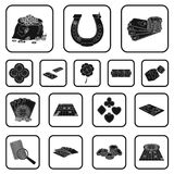 Casino and equipment black icons in set collection for design. Gambling and money vector symbol stock web illustration. Casino and equipment black icons in set Stock Photography