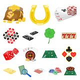 Casino and equipment cartoon icons in set collection for design. Gambling and money vector symbol stock web illustration. Casino and equipment cartoon icons in Royalty Free Stock Image