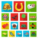 Casino and equipment flat icons in set collection for design. Gambling and money vector symbol stock web illustration. Casino and equipment flat icons in set Royalty Free Stock Photo