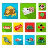 Casino and equipment flat icons in set collection for design. Gambling and money vector symbol stock web illustration. Casino and equipment flat icons in set Royalty Free Stock Image