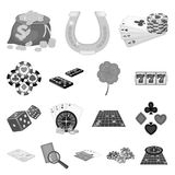 Casino and equipment monochrome icons in set collection for design. Gambling and money vector symbol stock web. Casino and equipment monochrome icons in set Royalty Free Stock Photography
