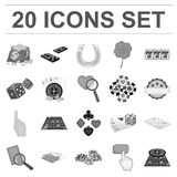Casino and equipment monochrome icons in set collection for design. Gambling and money vector symbol stock web. Casino and equipment monochrome icons in set Stock Images