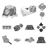 Casino and equipment monochrome icons in set collection for design. Gambling and money vector symbol stock web. Casino and equipment monochrome icons in set Royalty Free Stock Photo