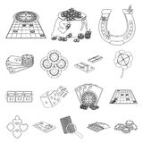 Casino and equipment outline icons in set collection for design. Gambling and money vector symbol stock web illustration. Casino and equipment outline icons in Stock Photo