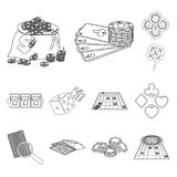 Casino and equipment outline icons in set collection for design. Gambling and money vector symbol stock web illustration. Casino and equipment outline icons in Stock Photos