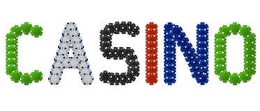 Casino escrito con las virutas de póker Fotografía de archivo