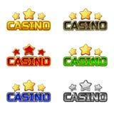 Casino et étoile colorés des textes de logo pour l'élément de jeu d'Ui illustration libre de droits